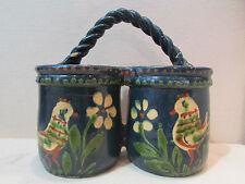 ancienne bouquetiere murale en poterie alsacienne emaillée alsace decor poule