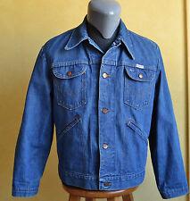 VTG Wrangler No Fault Denim Jacket Jean Indigo Sanfor-Set Made in USA Size 42