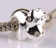 925 Sterling solid silver cows spacer beads fit Charm European Bracelet ZZ522