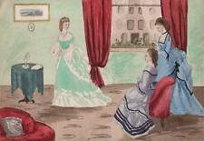 VICTORIAN FASHION CRINOLINE DRAWING ROOM Watercolour Painting J M TODD c1860