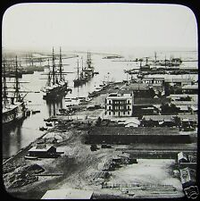 Glass Magic Lantern Slide SUEZ & THE CANAL C1910 EGYPT RIGGED SHIPS