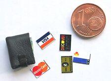 Geldbörse Kreditkarten  Miniatur 1:12 Puppenhaus Puppenstube Diorama Setzkasten