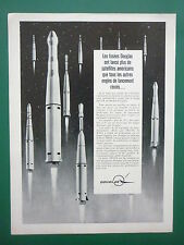60'S PUB DOUGLAS SPACE FUSEE DELTA THOR SATELLITE TELSTAR NASA ROCKET FRENCH AD