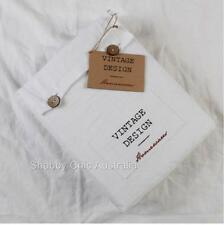 Hampton French Vintage White Linen Queen Bed Doona Duvet Quilt Cover &Pillow Set