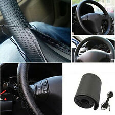 New Car Truck Leather Steering Wheel Cover With Needles and Thread Black DIY @