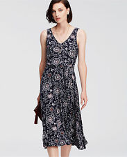 Ann Taylor Paisley Print Belted Jersey Midi Dress, Rayon, Navy Blue, Size M, NWT