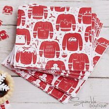 CHRISTMAS JUMPER SQUARE NAPKINS -Red & White Sweaters- Xmas Party -RANGE IN SHOP