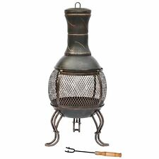 CHIMINEA Small Black & Antique Gold Steel Outdoor Patio Charcoal Fire Pit