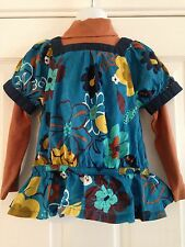 BNWT NEXT 2 Pack Tops Teal Floral Print Top & Tan Roll Polo Neck Layer 2-3 Years