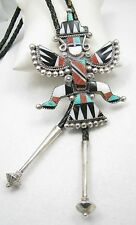 """Huge ZUNI Signed Inlay Knifewing Turquoise Spiny Oyster Sterling 3 1/2"""" Bolo Tie"""