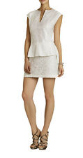"$228 BCBG WHITE ""ISABEL"" CAP SLEEVE DRAPED-SIDE PEPLUM LACE DRESS NWT 10"