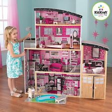 NEW Girly Sparkle Mansion With 30 Pieces Of Detailed Doll Furniture By KidKraft