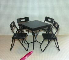 Miniature Black Folding Metal Card Table w/4 Chairs: DOLLHOUSE 1/12 Scale