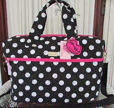 LUV BETSEY JOHNSON WEEKENDER POLKA DOTS DUFFLE DIAPER TRAVEL BAG NWT