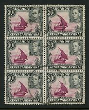 KUT KG6 1949 DHOW 50c SG144eb DOT + NO DOT...BLOCK of 6 FINE USED