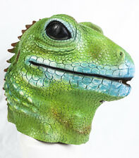 Deluxe Green Gecko Mask Latex Lizard Ghecko Fancy dress Costume Animal Zoo Pet