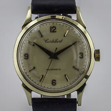 Cortebert, Vintage 8525, Mens, 14K Solid Gold, Cal 451, Leather Band
