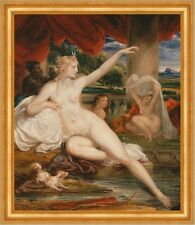 Diana at the Bath James Ward Nackte Frauen Bad Neger Hund Tücher B A3 02410