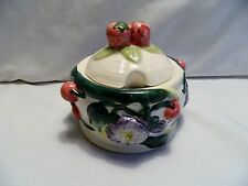 1997 CBK LTD LLC CERAMIC JAM/ SUGAR BOWL -STRAWBERRIES, CHERRIES, FLOWERS