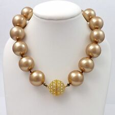 DESIGNER PATTY TOBIN 16MM CHAMPAGNE SHELL PEARL 18K VERMEIL CRYSTAL NECKLACE NEW