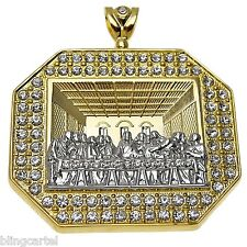 Huge Jesus Piece 3D Last Supper Gold Finish Iced-Out Hip Hop Octagonal Pendant