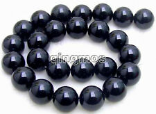 "Big 16mm Round Black agate Beads Strand 15""-los213"