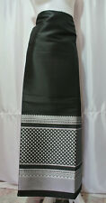 Thai Tradition Black Silver Synthetic Silk Fabric for women Skirt Dress FB67