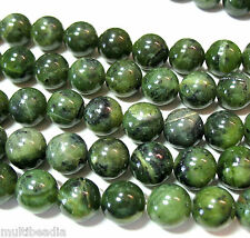 "Nephrite Green Jade 12mm Round Beads 7.5"" Natural Stone"