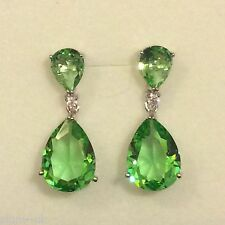 H14 Large Green Peridot Pear, Silver Dangle Drop Earrings (white gold GF) BOXED