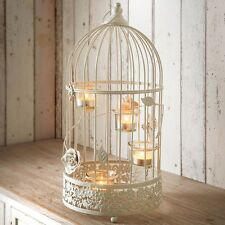 Large vintage lantern tea light candle holder white birdcage rose flowers