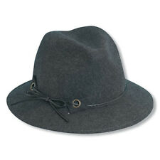 Womens Scala Wool Safari Style Hat-Gray with Slim Line Band-One Size fits most