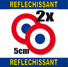 Cocarde RETRO REFLECHISSANTE FRANCE 2 stickers adhésifs rond5cm lot de 2