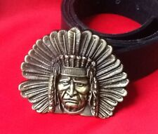 3D NATIVE AMERICAN RED INDIAN CHIEF HEAD COWBOY WESTERN BUCKLE & LEATHER BELT