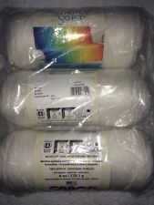 Caron Simply Soft Yarn Lot Of 3 Skeins (White #9701) 6 oz.
