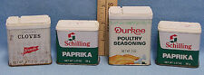 Vintage Schilling Durkee Frenchs Spice Tins Plastic Top Paprika Cloves Lot of 4