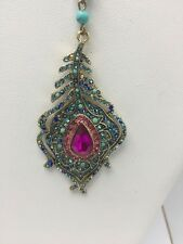 """Betsey Johnson """"Boho Betsey"""" Peacock Feather Y-Shaped Necklace"""