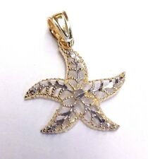 Cute! Solid 10K Yellow and White Gold Diamond Cut Delicate Star Fish Pendant