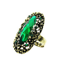 Vintage Style Antique Gold Emerald Green Crystal Oval Big Adjustable Ring FR262
