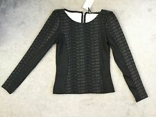 H&M BLACK AND GREY SEMI-FITTED TOP WITH LONG SLEEVES AND WIDE NECKLINE - 6 BNWT