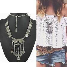Charm Gypsy Ethnic Tribal  Boho Coin Chain Gem Necklace Tassel Jewelry GiftMO