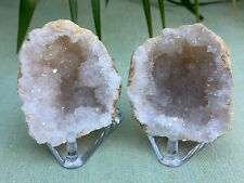 Natural Geode Pair With Stand Crystal Geode Quartz Druze Specimen Moroccan Geode