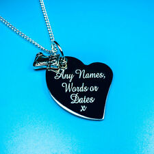 Personalised Heart Christmas Stocking Boot Charm Pendant Necklace Gift Name