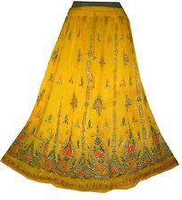RAYON ETHNIC skirt Indian falda boho hippie gypsy retro kjol jupe rok Rock VTG
