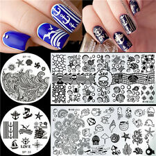4Pcs/set Nail Art Stamp Image Plates Template Stencil Sea Shell Starfish Theme