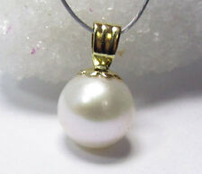 AAA GENUINE WHITE AKOYA SALTWATER CULTURED PEARL 14k SOLID GOLD PENDANT 7mm