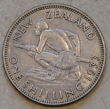 New Zealand 1933 Shilling Better Circulated Grade As Pictured
