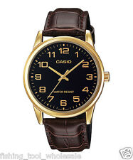 MTP-V001GL-1B Black Gold Casio Men Watch Geunine Leather Band Brand New