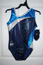 GK Elite Gymnastics Leotard -Adult Small - Blue/White