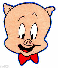 """4"""" LOONEY TUNES PORKY PIG FACE CHARACTER FABRIC APPLIQUE IRON ON"""