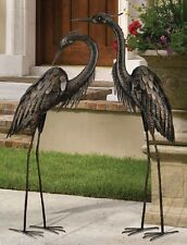 Bronze Heron Pair Coastal Metal Garden Statue Crane Bird Yard Art Sculpture 44""